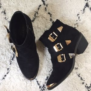 Cathy Jean suede boots with gold detail